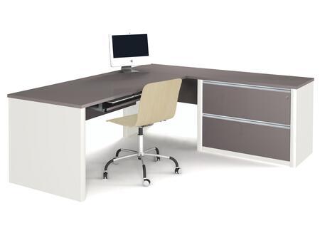 Bestar Furniture 93868 Connexion L-shaped workstation including assembled oversized pedestal