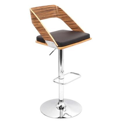 """LumiSource Vuno BS-JY-VN 36"""" - 41"""" Barstool with 360 Degree Swivel, Adjustable Height and PU Leather Upholstery in"""