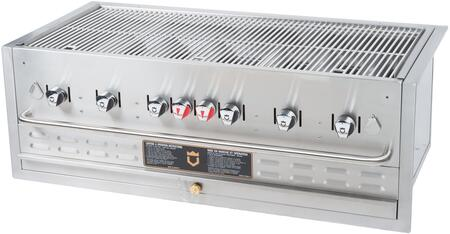 "Crown Verity BI-48 48"" Built-In Grill with 6 Stainless Steel Burners, 304 Stainless Steel Grids, Water Pan, and 16 ga Stainless Steel Radiants, in Stainless Steel"