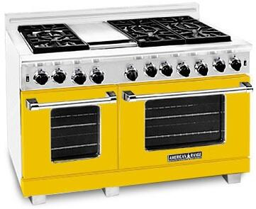 American Range ARR484GDGRLYW Heritage Classic Series Liquid Propane Freestanding Range with Sealed Burner Cooktop, 4.8 cu. ft. Primary Oven Capacity, in Yellow