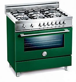 Bertazzoni X366PIRVELP Professional Series Dual Fuel Freestanding Range with Sealed Burner Cooktop, 4 cu. ft. Primary Oven Capacity, in Green