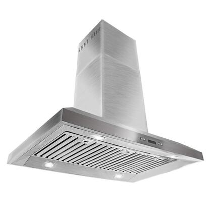 """AKDY AIR0A536 36"""" Island Mount Range Hood with 870 CFM, 65 dB, Centrifugal Motor, Crisp Analog Push Buttons, LED Lighting, 3 Fan Speed, Stainless Steel Grease Filter and X: Stainless Steel"""