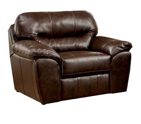 """Jackson Furniture Brantley Collection 4430-01- 51"""" Chair and a Half with Pillow Top Arms, Bonded Leather Upholstery and Luggage Stitching in"""