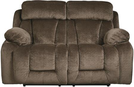 "Signature Design by Ashley 86506 Stricklin 67"" Reclining Loveseat with Piped Stitching, Metal Frame and Fabric Upholstery in Color"