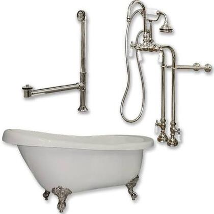 """Cambridge AST61398684PKG Acrylic Slipper Bathtub 61"""" x 30"""" with No Faucet Drillings and Complete Plumbing Package"""