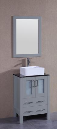 """Bosconi AGR124CBEBGX XX"""" Single Vanity with Black Tempered Glass Top, Square White Ceramic Vessel Sink, F-S02 Faucet, Mirror, 2 Doors and X Drawers in Grey"""