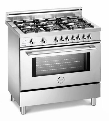 Bertazzoni X366GGVX Professional Series Natural Gas Freestanding Range with Sealed Burner Cooktop, 3.6 cu. ft. Primary Oven Capacity, Storage in Stainless Steel