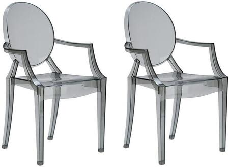 "EdgeMod Burton Collection 36"" Set of 2 Arm Chairs with Oval Back, Injection Molded, Tapered Legs and Polycarbonate Material"