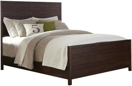 Donny Osmond Home Lancaster Collection Panel Bed with Solid Mahogany Wood and Acacia Veneer Materials in Wire-Brushed Acacia Cocoa Finish
