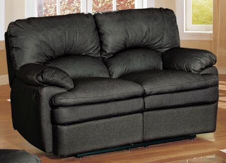 Yuan Tai HN6600LBK Haines Series Leather Loveseat with Wood Frame Loveseat