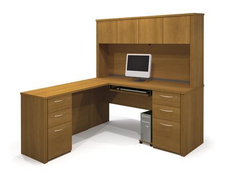 Bestar Furniture 60874 Embassy L-shaped workstation kit including assembled pedestal