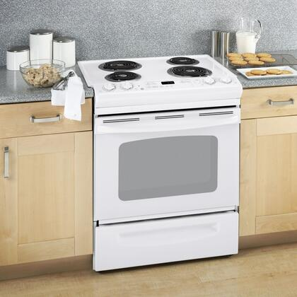 """GE JSP39DNWW 30"""" Slide-in Electric Range with Coil Cooktop Storage 4.4 cu. ft. Primary Oven Capacity 