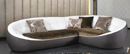 VIG Furniture VGKN8378  Sofa and Chaise Fabric/ Leather Sofa