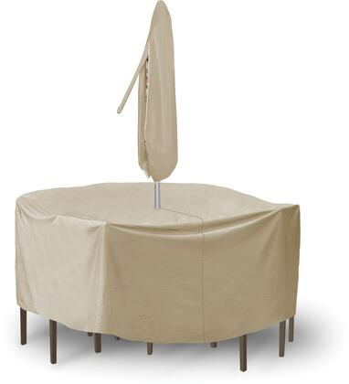 "PCI by Adco 80"" x 30"" Round Table and Chair Set Covers with Umbrella Hole, Secured Velcro Ties and Heavy Duty Vinyl Fabric in"
