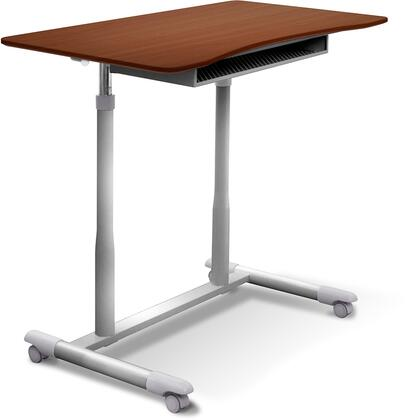 "Unique Furniture 200 Collection 30.5"" - 42.5"" Mobile Stand Up Desk with Adjustable Height, Wire Storage Shelf, Lacquered Steel Base, Vacuumed Sealed MDF and Ergonomic Curved Top in"