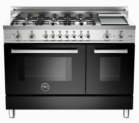 "Bertazzoni PRO486GDFSNELP 48"" Professional Series Dual Fuel Freestanding Range with Sealed Burner Cooktop, 3.4 cu. ft. Primary Oven Capacity, in Black"
