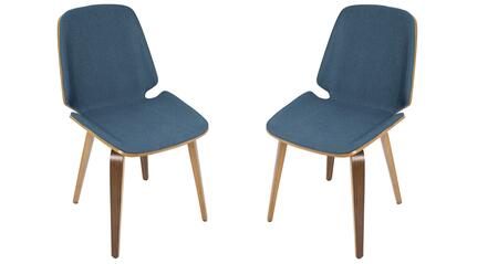 """LumiSource Serena CH-SER WL Set of (2) 33"""" Dining Chair with Fabric Upholstery, Tapered Legs and Walnut Wood in"""