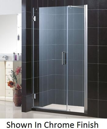 DreamLine SHDR-20457210 Unidoor Frameless Hinged Shower Door With Reversible For Right Or Left Door Opening, Self-Closing Solid Brass Wall Mounted Hinges (5 Degree Offset) & In