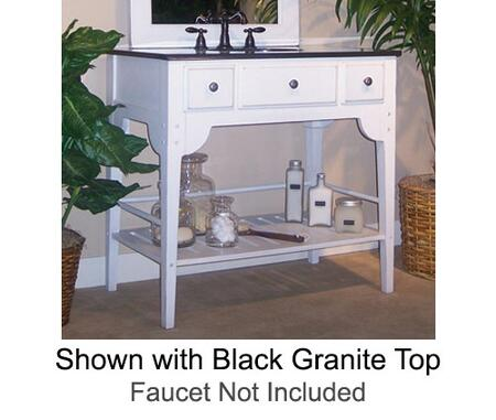 """Kaco Dover Collection 340-3600-W 36"""" Single Sink Vanity with Bottom Shelf, Faux Drawer Front and Cottage White Sherwin Williams Finish with Granite Top"""