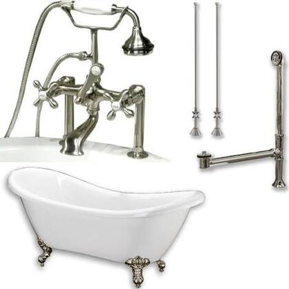 "Cambridge ADES463D6PKG Acrylic Double Ended Clawfoot Bathtub 68"" x 30"" with no Faucet Drillings and Complete Plumbing Package"