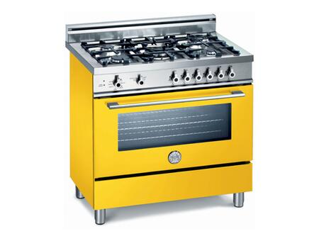 Bertazzoni X365GGVGI Professional Series Dual Fuel Freestanding Range with Sealed Burner Cooktop, 3.6 cu. ft. Primary Oven Capacity, Storage in Yellow