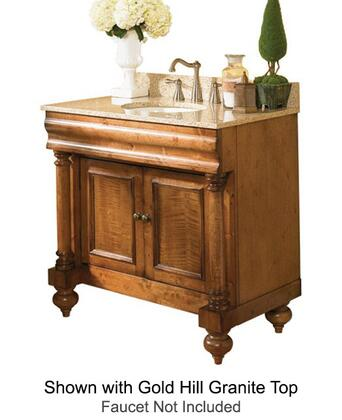 "Kaco Guild Hall Collection 725-3000-P 30"" Single Sink Vanity with Adjustable Shelf, 2 Doors and Removable Drawer in Warm Pecan Finish with X Granite Top"