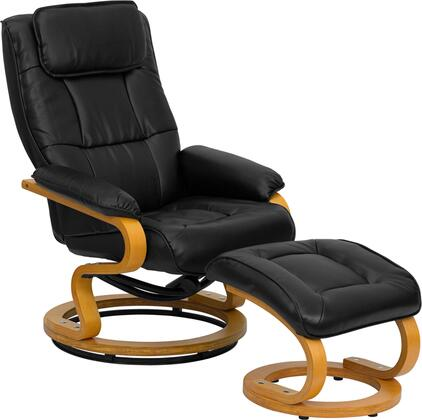 Flash Furniture BT-7615-XX-CURV-GG Contemporary Leather Recliner and Ottoman with Swiveling Maple Wood Base, Knob Adjusting, Ball-Bearing Swiveling Base, and Maple Wood Base with Floor Glides in Black