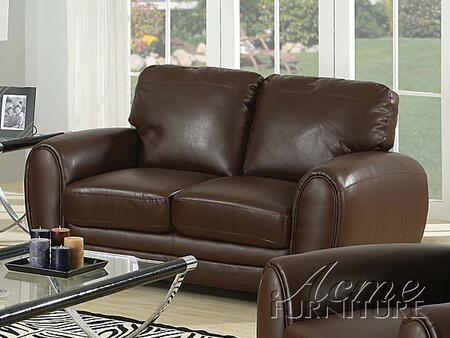 Acme Furniture 15241A Amber Series Bonded Leather Stationary with Wood Frame Loveseat