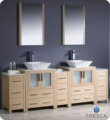 "Fresca Torino Collection FVN62-72XX-VSL 84"" Modern Double Sink Bathroom Vanity with 3 Side Cabinets, 2 Mirrors and 2 Vessel Sinks in"
