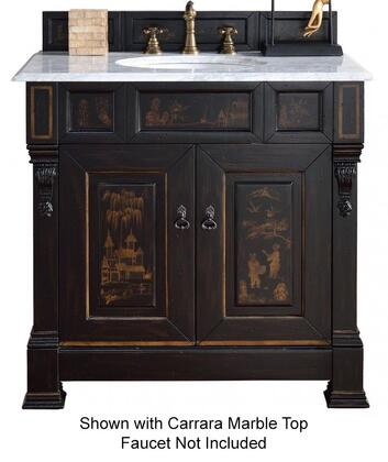 """James Martin Brookfield Collection 147-114-V36-HP01- 36"""" Hand Painted Vanity with Two Soft Closing Doors, Backsplash, Hand Carved Filigrees and"""