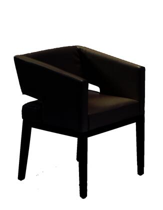 Armen Living LC312ARX Leather Arm Chair with Wood Legs Contemporary Style in