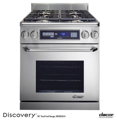 "Dacor Renaissance ER30DSRS 30"" Freestanding Dual Fuel Range with 4 Sealed Gas Burners, 3.9 cu. ft. Self-Cleaning Pure Convection Oven, Chrome Trim: Stainless Steel"