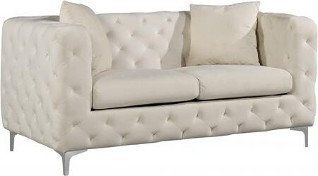 "Meridian Scarlett Collection 663L-X 70"" Loveseat with Velvet, Deep Tufting and Chrome Legs"
