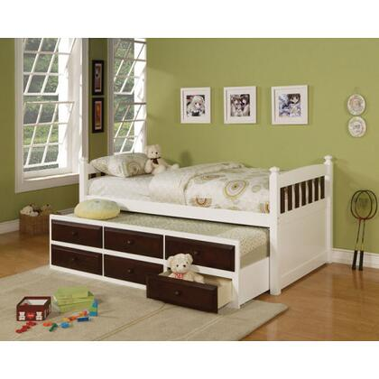 Acme Furniture 1499XX Lowell Sky White and Espresso Storage Bed with Trundle, X Size