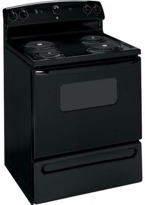 """GE JBS07MBB 30"""" QuickClean Series Electric Freestanding Range with Coil Element Cooktop, 5.0 cu. ft. Primary Oven Capacity, Storage in Black"""