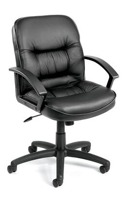 "Boss B73 39"" Mid-Back Executive Chair with Extra Thick Seat and Back Cushion, Adjustable Tilt Tension Control, Upright Locking Control, and  Durable Polypropylene Armrests in Black LeatherPlus Upholstery"
