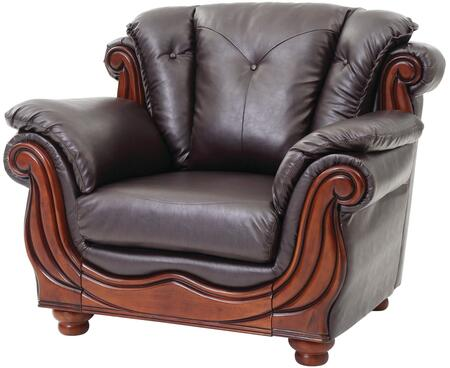 """Glory Furniture 47"""" Armchair with Wood Trim, Removable Back, Turned Bun Feet, Pillow Top Arms, Button Tufted Back, Pocket Coil Seating and Glove Soft Faux Leather Cover in"""
