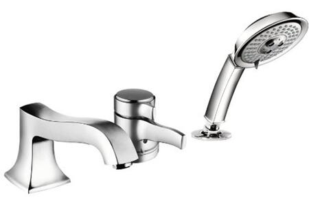 Hansgrohe 4132 Metris C Collection Single Handle Three Hole Thermostatic Roman Tub Filler Faucet with Metal Lever Handle and Multi Function Hand Shower: