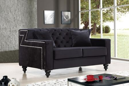 "Meridian Harley Collection 616X-L 62"" Loveseat with Velvet Upholstery, Tufted Back, Silver Nailheads and Contemporary Style in"