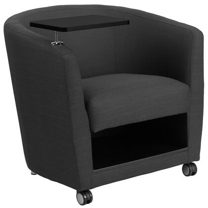 Flash Furniture BT8220GYXGG Charcoal Gray Fabric Guest Chair with Tablet Arm and Under Seat Storage