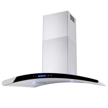 """AKDY AWRKN336 36"""" Wall Mount Range Hood with 760 CFM, 65 dB, Centrifugal Motor, Innovative Touch, 2W LED Lighting, 3 Fan Speed, Aluminum Grease Filter and X: Stainless Steel"""