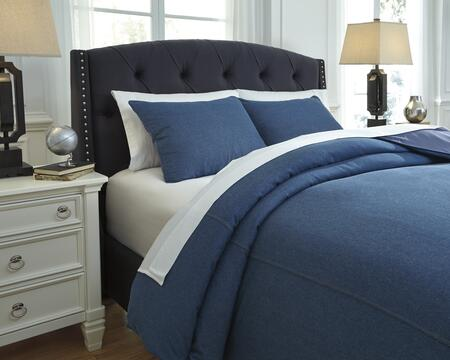 Milo Italia Santo Collection C2660TMP 3 PC Size Duvet Cover Set includes 1 Duvet Cover and 2 Standard Shams with Solid Design and Cotton Material in Denim Color