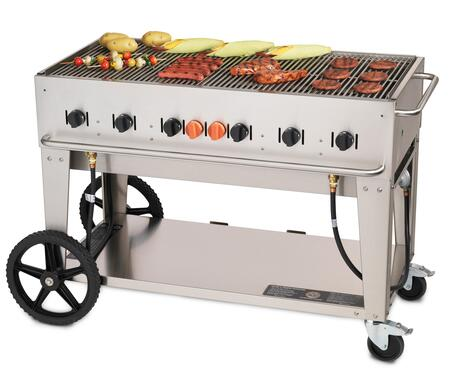 """Crown Verity CV-MCB-48XX 56"""" Wide Mobile Grill with 99,000 BTU/H, 6 Burners, 46"""" Cooking Surface, Tank Holder and Storage Shelf in Stainless Steel"""