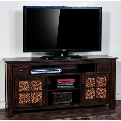 """Sunny Designs 3484DT-X Woodland X"""" TV Console with Double Door Cabinet, Storage Shelf, in Dark Tabacco Finish"""