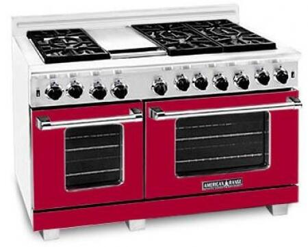 "American Range ARR4842GRLBR 48"" Heritage Classic Series Gas Freestanding Range with Sealed Burner Cooktop, 4.8 cu. ft. Primary Oven Capacity, in Red"