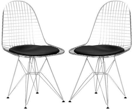 EdgeMod EM107BLKX2 Hamlet Series Modern Metal Frame Dining Room Chair