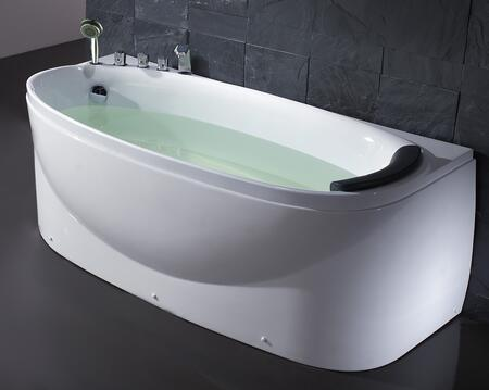 Eago EAGO LK1104-X Soaking Tub with Acrylic, 1 Person Capacity, Tub Filter, Hand Held Shower and  Head  Rest in White