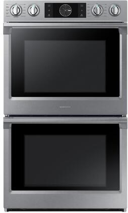 """Samsung Appliance NV51K7770Dx 30"""" Double Wall Oven with 10.2 cu. ft. Total Capacity, Dual Fan Convection, Steam Cooking, Spotlight Lighting System and Wifi, in"""