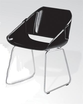Modloft CDC047IAC5 Savoy Series Modern Leather Metal Frame Dining Room Chair