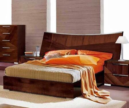 ESF Cindy Collection Sleigh Bed with Polished Metal Legs, Made in Italy and High Gloss Veneers in Walnut Finish
